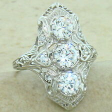ART DECO CLASSIC ANTIQUE STYLE 925 STERLING SILVER CZ RING SIZE 5,          #847