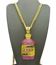 "Hip Hop Rapper Iced Out Syrup Bottle Pendant W/ 6mm 30"" Box Cuban Chain Necklace"