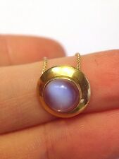 Gorgeous Glowing Blue Moonstone 14K Yellow Gold Pendant Necklace