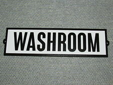 "Vintage Retro Style White With Black Letters WASHROOM Door Sign 8"" x 2 1/4"""