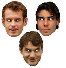 Tennis Stars Official 2D Card Party Face Masks Variety 3 Pack - Murray Federer