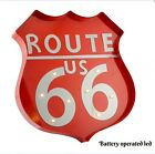 RED METAL ROUTE 66 LARGE LED LIGHT BATTERY AMERICAN DINER MAN CAVE SECONDS