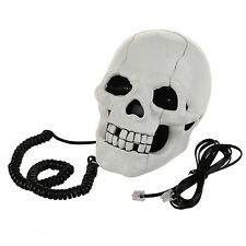 Skull Shaped Retro Corded Telephone Flashing Eyes Home Office Desk Phone