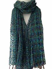 Scarf Blue Green Fair Trade New Lacey style Teal Wrap Shawl Summer Scarf
