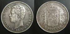 ESPAGNE - 5 PESETAS 1871 SD .M.- AMADEO I - Argent - 02