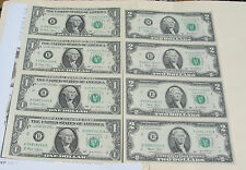 3 Items: Usa$1 & $2 of 4 Uncut Sheets/Each,Real Paper Bill & 2 Infors+Old Cent