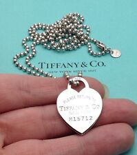 "Tiffany & Co. Sterling Silver 'Return To Tiffany' Heart Tag 34"" Bead Necklace"