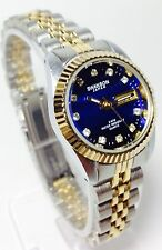 SWANSON JAPAN LADY WATCH WITH BLUE FACE AND DIAMONDS AROUND BRAND NEW TWO TONE