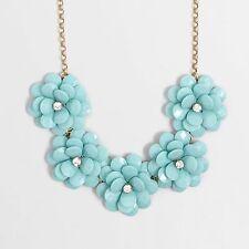 NWT J. Crew Crystal Floral Burst Statement Necklace Faded Turquoise Teal Blue