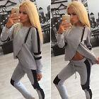 Grau Trainingsanzug 2 Teilig Damen Pullover Hose Jogginganzug Hausanzug Fitness