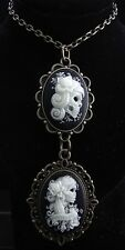 "24"" Glow in Dark Lady Sugar Skull Cameos Pendant Necklace"