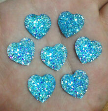 "DIY 20PCS Blue AB Resin Heart flatback Scrapbooking for phone/wedding/craft  ""D2"
