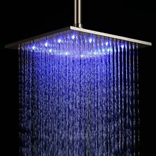 "12"" LED Light Square Rain Shower Head Stainless Steel Bathroom Color Change US"