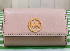Authentic Michael Kors MK Fulton Leather Key Case Trifold Wallet Ballet Pink