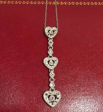 WoW 10k White Gold Diamond Cut 3 Heart Pave Filigree Lariat Pendant Necklace 18""