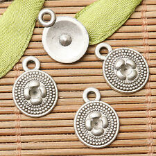 30pcs dark silver color round shaped flower design charms  EF2653