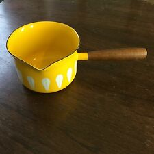 CATHRINEHOLM YELLOW w/WHITE LOTUS ENAMELWARE BUTTER WARMING POT MADE IN NORWAY