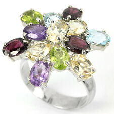 Natural TOPAZ AMETHYST GARNET CITRINE Stones 925 STERLING SILVER RING S10 ChunKY