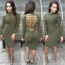 Women Sexy Backless Long Sleeve Tunic Bandage Bodycon Party Cocktail Club Dress