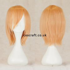 Breve Medium Dritta Layered Cosplay Parrucca in PEACH Bionda, UK Venditore, LILY stile