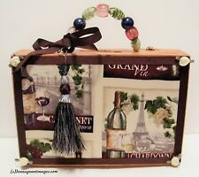 Wine Cabernet Chardonnay Eiffel Tower Wine Lover Wood Cigar Box Purse New