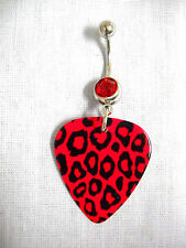 NEW RED LEOPARD BIG CAT SAFARI PRINTED GUITAR PICK w RED CZ BELLY BAR NAVEL RING