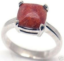 Gorgeous Woman Red Colar Silver Ring S 7.25 #152