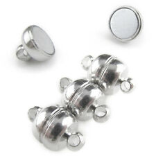 8 Magnetic Clasp Converters - Shiny Drum Style - Shiny Silver Color - Jewelry
