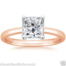 1.50 Ct Princess Cut Solitaire Engagement Wedding Ring Solid 14K Rose Pink Gold