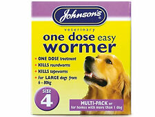 Johnsons One Dose Wormer Dog Worming Tablets Roundworm & Tapeworm SIZE 4