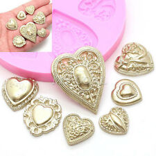 Heart Brooch Silicone Mould Cake Fondant Icing Cupcakes Baking Chocolate Mold