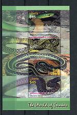 Liberia 2005 MNH World of Snakes 4v M/S Reptiles Garter Snake Kingsnake Stamps