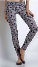 AEROPOSTALE BETHANY MOTA HIGH RISE FLORAL LEGGINGS - Black/Grey/White - LARGE