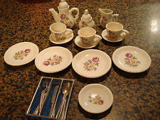 CHILDS MINI TEA SET 15 PC WHITE FLORAL W/UTENSILS 4 PLACE SETTINGS CUTE CHINA
