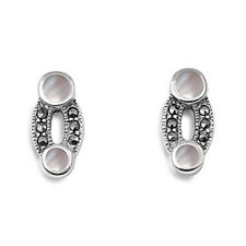 O-Shaped with Mother of  Pearl Marcasite Earrings Sterling Silver 925 Jewelry