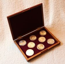 CHERRY BOX FOR 8 COINS IN MODEL H AIRTITE CAPSULE HOLDERS, Burgundy Interior