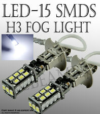 JDM 2X High Power H3 6000K White 15W LED 800LM Fog Driving DRL Light Bulb Lamp