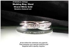Diamond Set Wedding Ring Band unusual 9ct White Gold criss cross 4.4mm UK size P