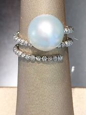 18k White Gold Round Shape White South Sea Pearl Ring  300-10