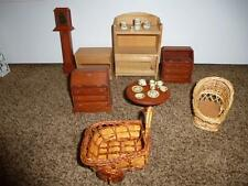 Wood Dollhouse Furniture Grandfather Clock Secretary Desk Pottery Dishes Wicker