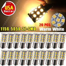 20 X Warm White 1156 RV Camper Trailer 27 SMD LED 1141 1003 Interior Light Bulbs