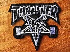 Thrasher EMBROIDERED Black&White PATCH IRON ON or SEW, Skateboard COOL Sports.