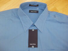 Nautica Dress Casual Shirt L 16 32-33 Blue Striped Pocket Classic Fit NWT