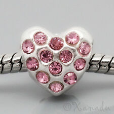 Pink Rhinestone Heart European Bead For European Charm Bracelets And Necklaces