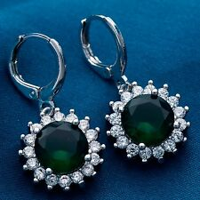 Fashion Round Design White Gold Plated Women Lady Green C.Z Drop Earrings