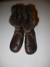 Pediped 27 10-10.5 Toddler Girls Brown Fur Leather Boots LR