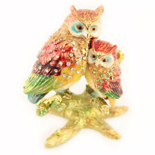 Baby Owl Jewelry Trinket Box Bird Double Owls Decoration Animal Cute Gift 02063A