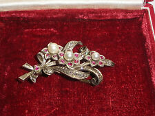 Exquisite Vintage Mikimoto Sterling silver brooch diamonds ruby flowers pearls