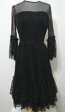 VINTAGE 40's Black Chiffon Silk Scallop French Lace Tiered Skirt Pleated Dress S