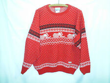 Vintage Ski-doo Bombardier Snowmobile Sweater Size Large Nordic Red White Black